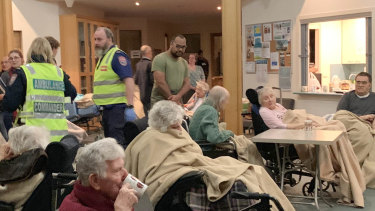 Residents of the Spurway Community nursing home in the Uniting Church foyer.