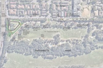Map of Parramatta Park, which shows the proposed clearing of trees for car parking.