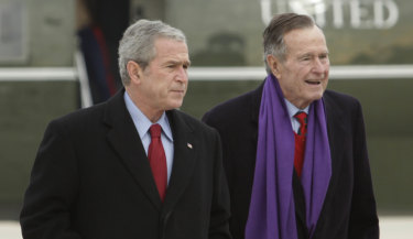 George W. Bush and his father, George H. W. Bush.