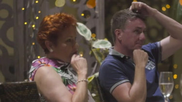 Pauline Hanson and James Ashby in the Al Jazeera documentary.