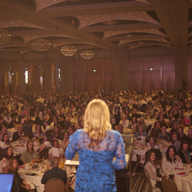"""Emma Isaacs speaks at a Business Chicks event in Melbourne: """"The events are joyful,"""" says one member, """"like schoolreunions without the mean girls."""""""