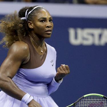 History beckons: Serena Williams powered past Anastasija Sevastova in their US Open semi-final.