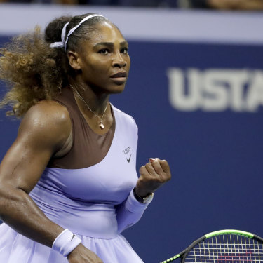 History beckons: Serena Williams powered past Anastasija Sevastova in their US Open semi-final.