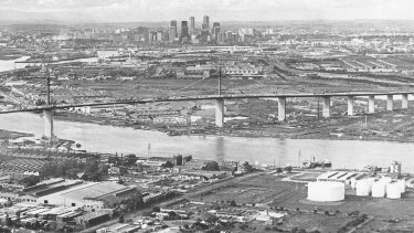 West Gate Bridge and Melbourne skyline, May 1978.