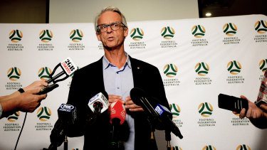 Explaining a mess: David Gallop addresses the media in Sydney after meeting Matildas players to discuss Alen Stajcic's suddenly sacking.
