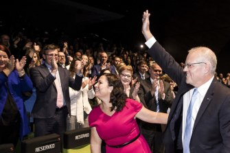 Scott Morrison greets the faithful in Melbourne during the election campaign.