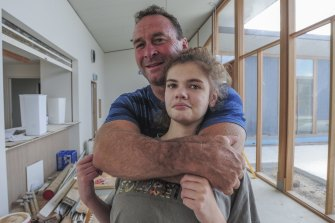 Ricky Stuart with his autistic daughter, Emma, visiting the Ricky Stuart Foundation respite centre in Chifley back in 2016.