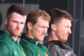George Bailey (centre) is set to be named Australia's final selector alongside Justin Langer and Trevor Hohns.