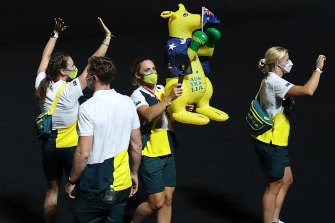 Mascot time! Members of the  Australian team during the closing ceremony of the Tokyo 2020 Olympic Games.