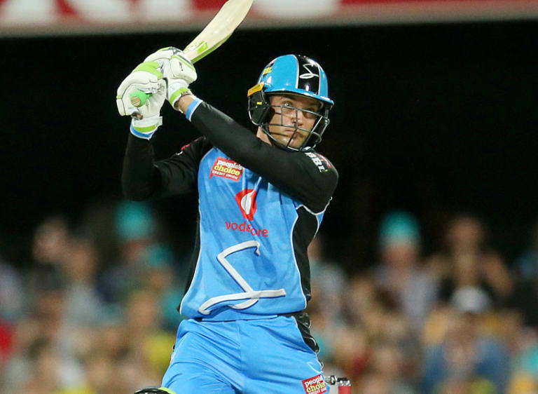 Top scorer: Adelaide Strikers' Alex Carey takes to the Brisbane Heat attack on Wednesday night.