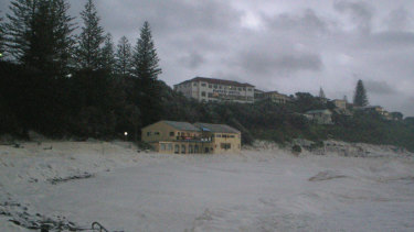 Yamba's Pacific Hotel, perched above the surf club.