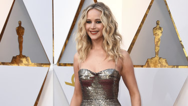 Jennifer Lawrence arrives at the 2018 Oscars at the Dolby Theatre in Los Angeles.