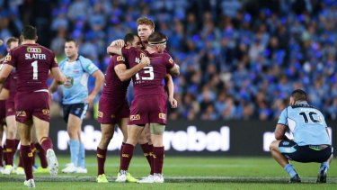 Josh McGuire sledges Andrew Fifita after full-time of game two in the 2017 State of Origin series.