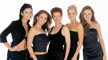 Monk has been on reality TV since she appeared on Popstars in the winning girl group Bardot, featuring (from left) Tiffany Wood, Sally Polihronas, Katie Underwood, Monk and Belinda Chapple.