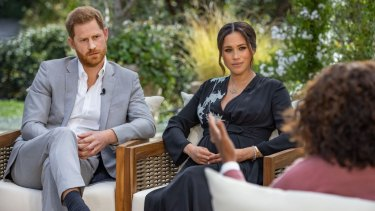The Duke and Duchess of Sussex talk to Oprah Winfrey.