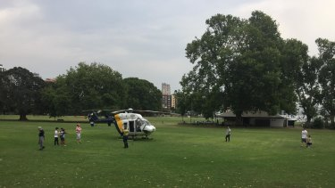 CareFlight landed in a nearby park before taking the man to hospital in a critical condition.