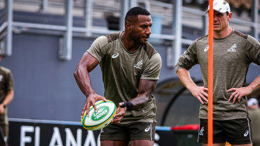 Suliasi Vunivalu at his first Wallabies training session on Thursday.