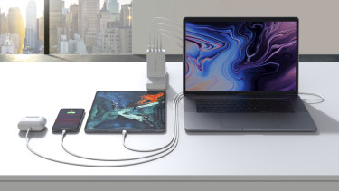 The Hyperjuice GaN charger can power four devices at once.