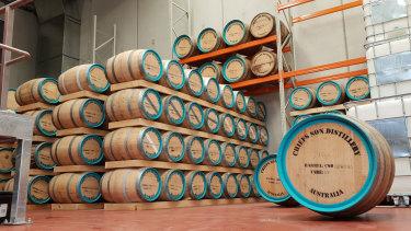 Barrels in Chief's Son distillery.