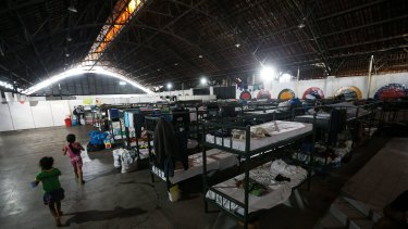 Temporary shelter for Venezuelan migrants in Boa Vista, capital of the state of Roraima, Brazil.