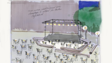 A sketch by Zoe Atkinson  of the new planned outdoor stage at Malthouse Theatre.