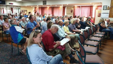Locals of Uralla attend a town meeting to discuss the town's water crisis.