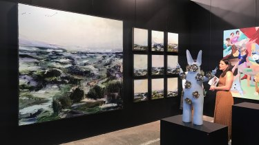 The Scott Livesey Gallery stand at Sydney Contemporary featuring works by Aaron Kinnane on the left.
