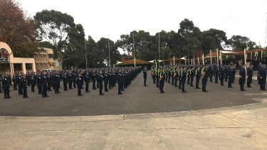 Police and Protective Services Officer recruits, instructors and staff at the Victoria Police Academy held a minute's silence on Thursday.
