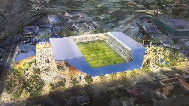 The Brisbane Strikers' plan for 15,000-seat stadium at Perry Park, in inner-city Bowen Hills.