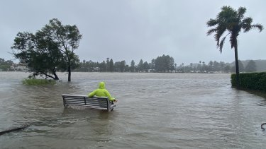Flooding at Narrabeen lagoon on Sunday.