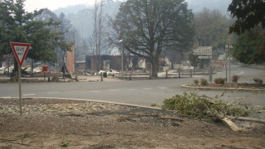 The post office area across the road from Marysville police station in the aftermath of Black Saturday.