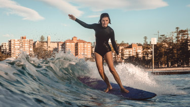 Lucy Small surfing at Manly last year.