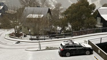 Snow falls in Thredbo.