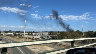 Plumes of black smoke can be seen from Tonkin Highway.