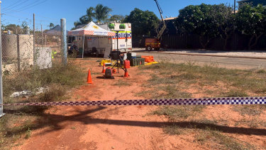 Police investigation under way at the crash site in Broome on Sunday.