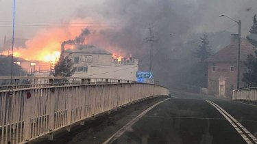 Cobargo Main Street in the 2019/20 fires.