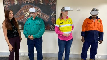 (From left) Burke Shire Council CEO Clare Keenan, Mayor Ernie Camp and workers Jasmin Davis and Dave Marshall with the VR training headsets.