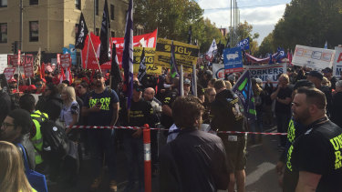 The union protest lasted three hours.