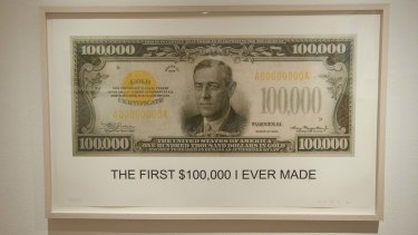 """The First $100,00 I Ever Made"", a 2012 lithograph by John Baldessari."