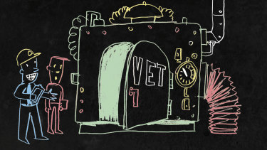 Students looking at a VET machine where money goes in. Vocational education players are under scrutiny and controversies are mounting. Illustration: Simon Bosch