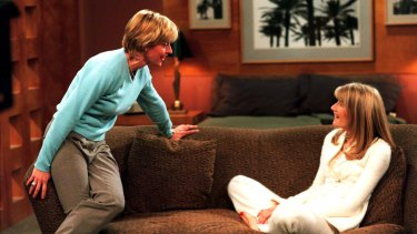 "Ellen DeGeneres as Ellen Morgan (left) and Laura Dern as Susan in the ""The Puppy"" episode of the ABC-TV show ""Ellen"" which aired April 30, 1997 in the United States."