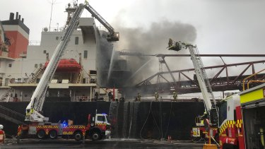 Fire and Rescue NSW Superintendent Norm Buckley said no crews would be going inside the ships hold to fight the fire.