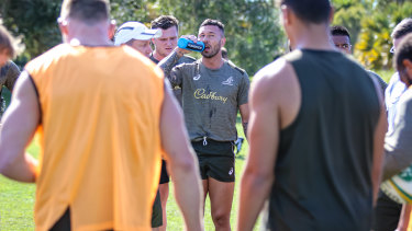 Quade Cooper back in the swing at Wallabies training.