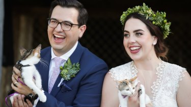 David Sharaz and Alexandra Craig - and their cats! - on their wedding day in Canberra in March this year.