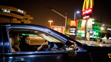 Hessah Alajaji took to the road on Saturday night in Riyadh, Saudi Arabia, hours before the driving was ban officially lifted.