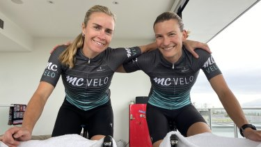 """There's no coasting, no traffic lights to stop at, no chit-chat and you break out in a sweat really quickly"": cyclists Holly (left) and Natasha Cogle."