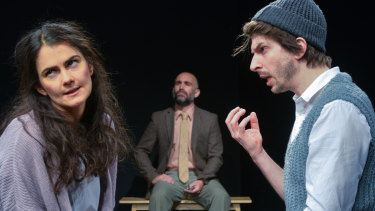 Grace Naoum as Molly with Matt Abotomey (Frank) and, in the background, Yannick Lawry as Mr Rice.