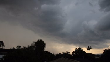 The view from the Sunshine Coast suburb of Buderim as the Saturday afternoon severe storms rolled in.