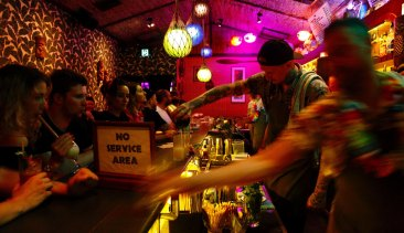 A scene from Sydney's nightlife, at Jacobys Tiki Bar in Enmore.