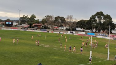 Taking the lead: Coburg and Werribee trial the proposed AFL rule changes in VFL on Saturday.